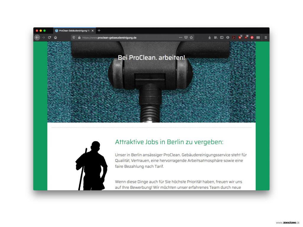 Website für Pro.Clean Gebäudereinigung